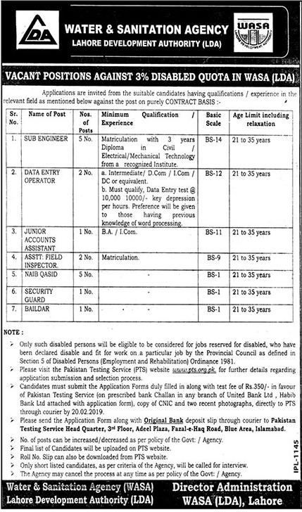 WASA Lahore Jobs 2019 LDA PTS Application Form Advertisement