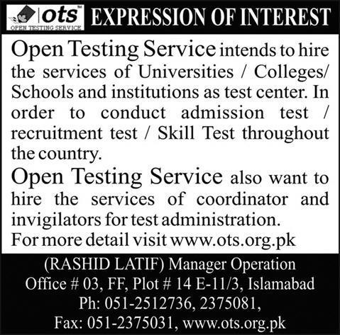 OTS Invigilator Jobs 2019 Online Registration Form Advertisement