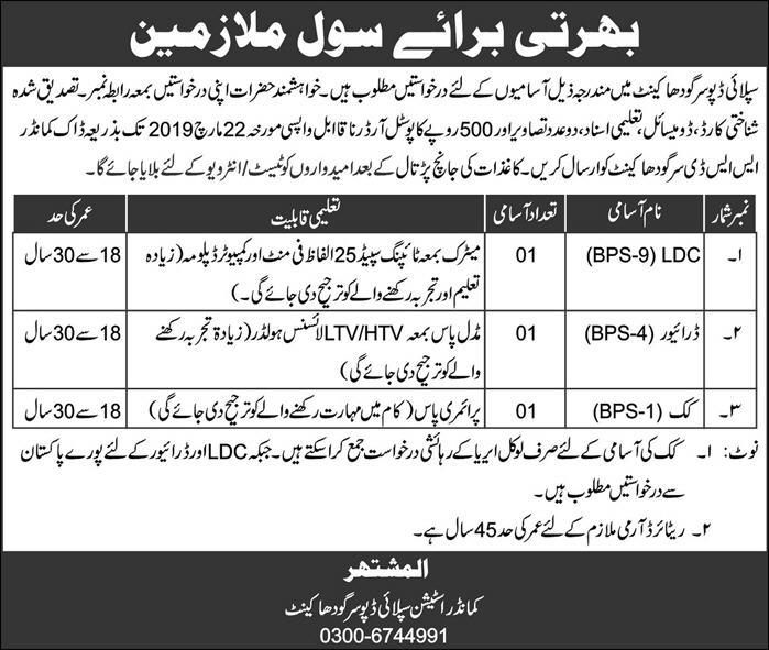 Pakistan Army Civilian Jobs 2019 Staff Advertisement Form