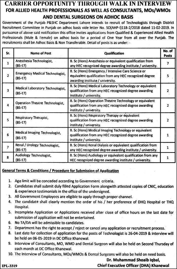 Primary And Secondary Healthcare Department Punjab Jobs 2019