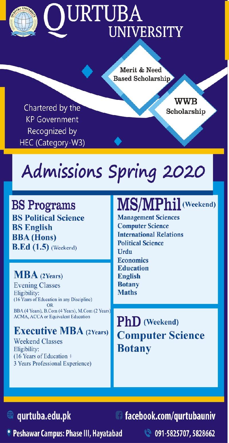Qurtuba University Admission 2020 Form Advertisement Last Date