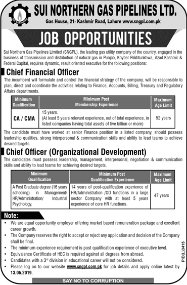 Sui Northern Gas Pipelines Limited SNGPL Jobs 2019 Apply Online Advertisement