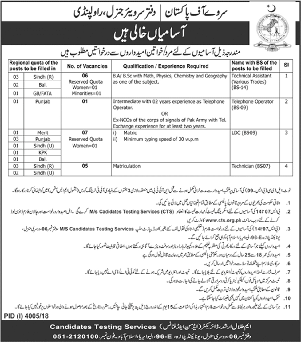 Survey Of Pakistan Jobs 2019 Application Form Advertisement
