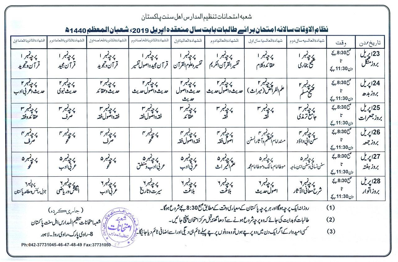 Tanzeem Ul Madaris Ahle Sunnat Lahore Girls Date Sheet 2019