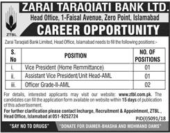 Zarai Taraqiati Bank ZTBL Jobs 2019 Online Apply