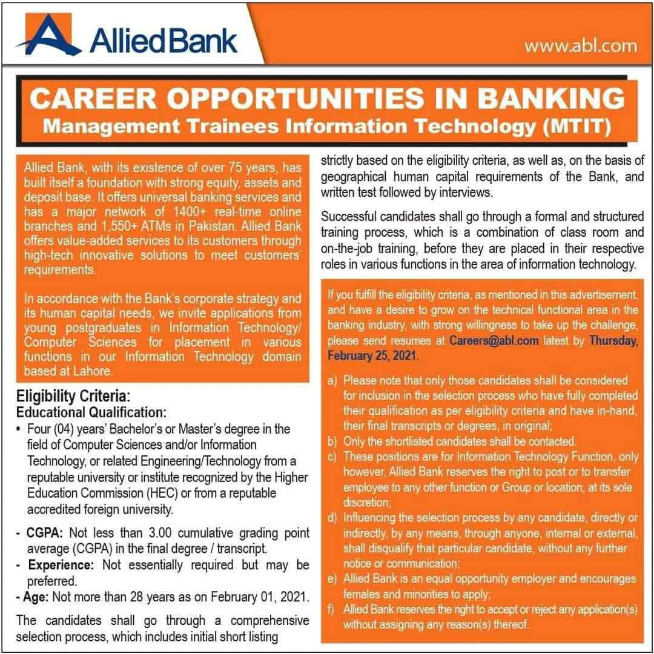 Allied Bank Management Trainee Officer MTO Jobs 2021