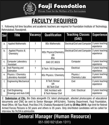 Fauji Foundation Jobs 2019 Application Form www.fauji.org.pk Download