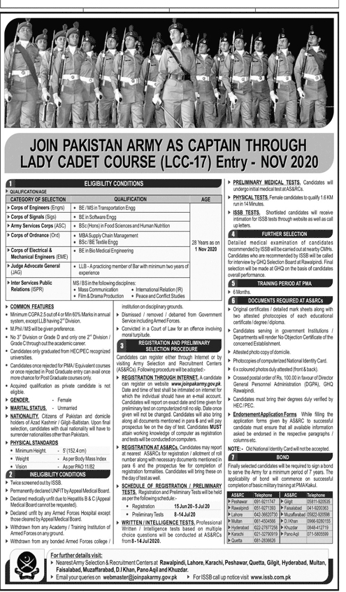Join PAK Army As Captain Lady Cadet Course 2020 Online Registration Form