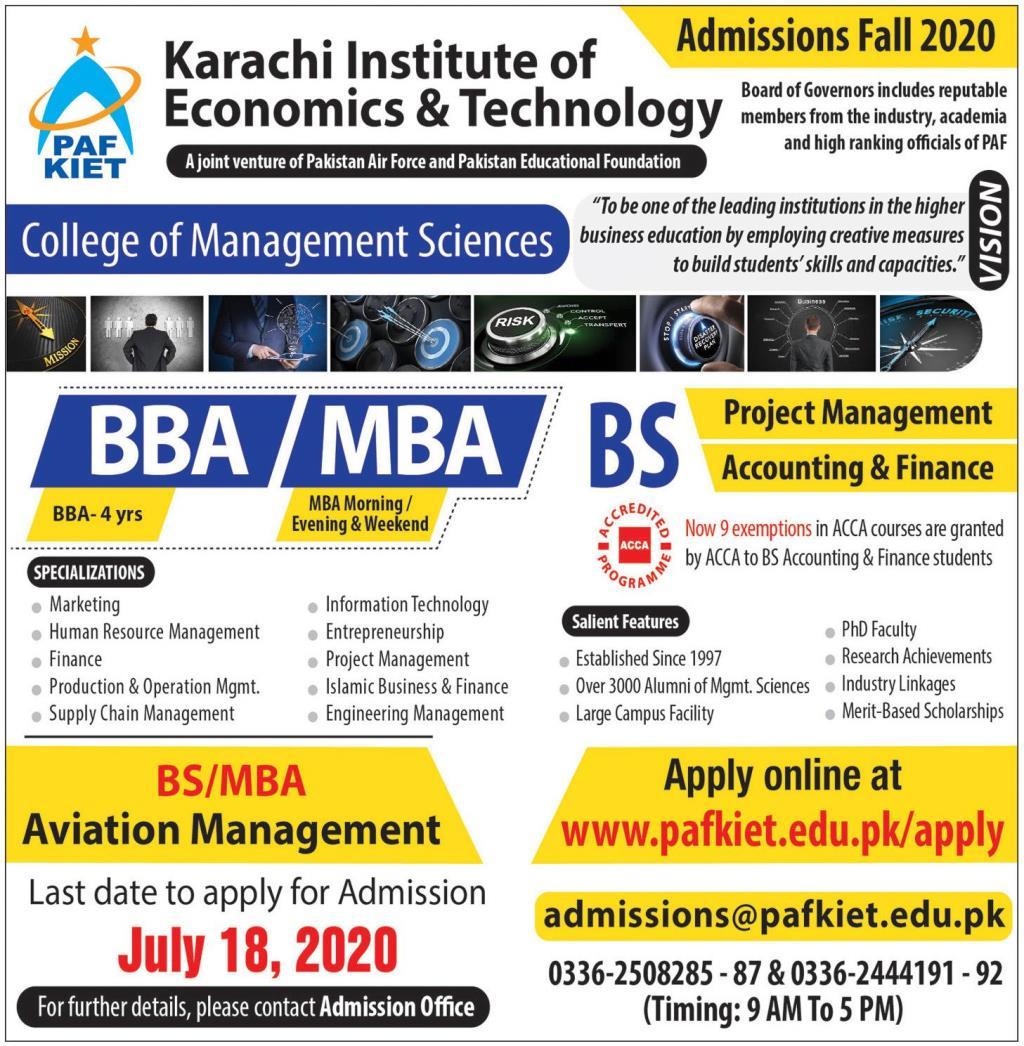 PAF KIET Admissions 2020 Karachi Institute of Economics & Technology