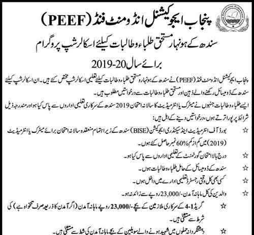 PEEF Scholarship For Sindh Students 2020 For Matric Intermediate