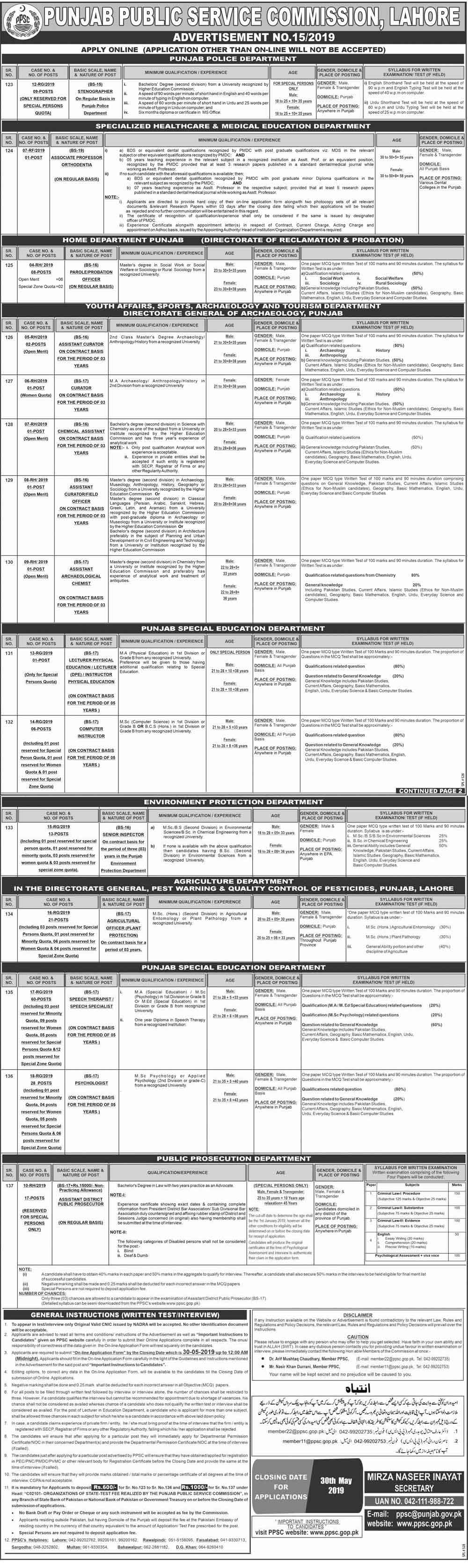 PPSC Latest Jobs May 2019 Apply Online Advertisement
