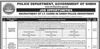 Sindh Police IT Cadre Jobs 2020 PTS Application Form Advertisement