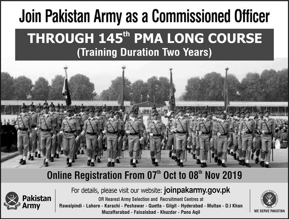 Join Pakistan Army as Commissioned Officer 2019 PMA Long Course 145 Registration