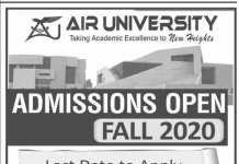 Air University Islamabad Fall Admission 2020 Form Last Date