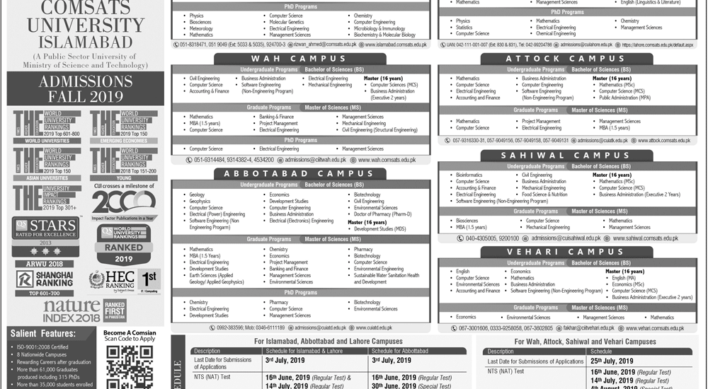 COMSATS Admission Schedule 2019 Requirement Criteria