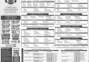 COMSATS Islamabad Admission 2020 Last Date