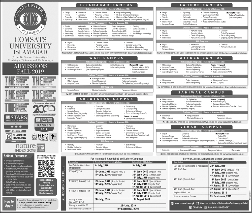 COMSATS Fall Admissions 2019