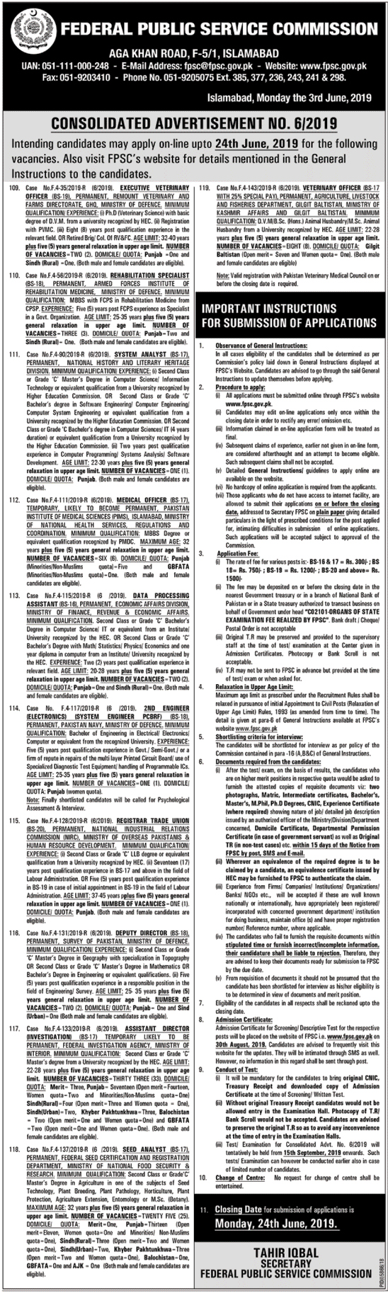 FPSC Jobs June 2019 Advertisement, Apply Online Last Date