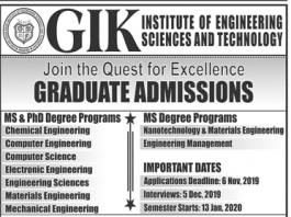 GIKI Graduate MS, PhD Admissions 2019 Entry Test Result Date