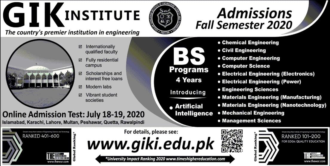 GIKI Undergraduate Admissions 2020