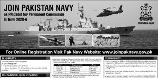 Join Pak Navy as PN Cadet Online Registration 2020-A Permanent Commission