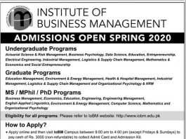 Institute of Business Management IOBM Admission 2020 Form