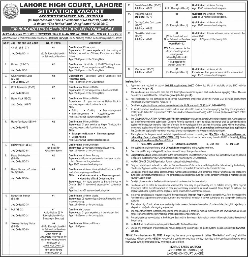 Lahore High Court Jobs 2019 www.lhc.gov.pk Apply Online Advertisement