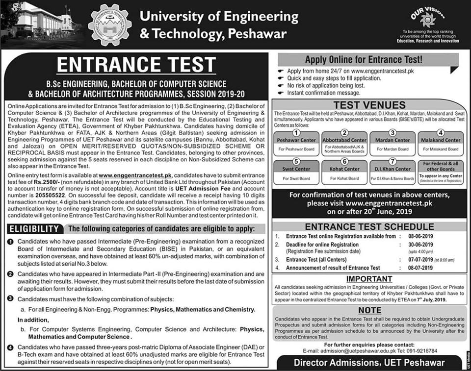 UET Peshawar Entry Test Online Registration 2019