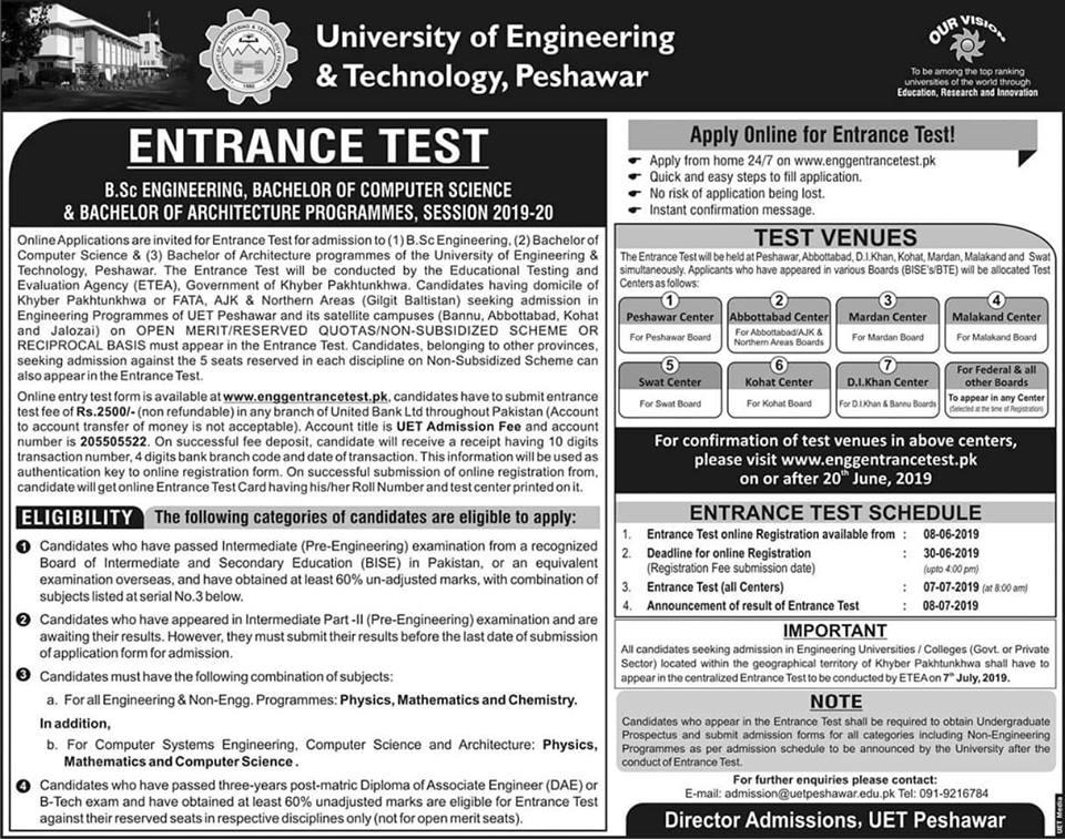 UET Peshawar Entry Test Online Registration 2019