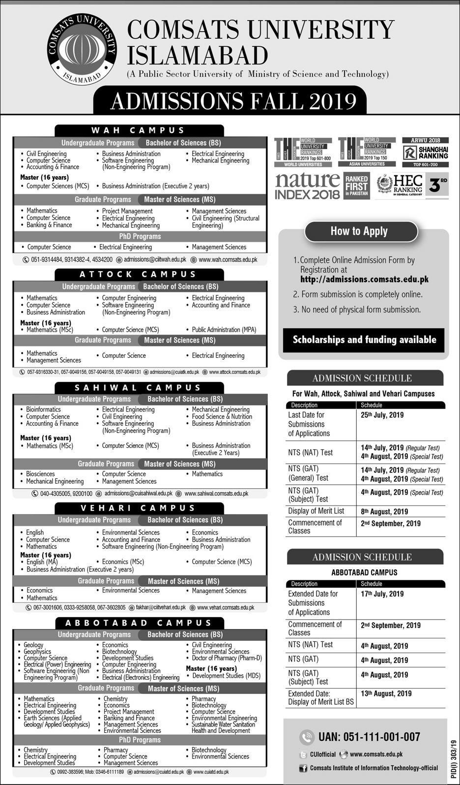 COMSATS Islamabad Fall Admissions 2019