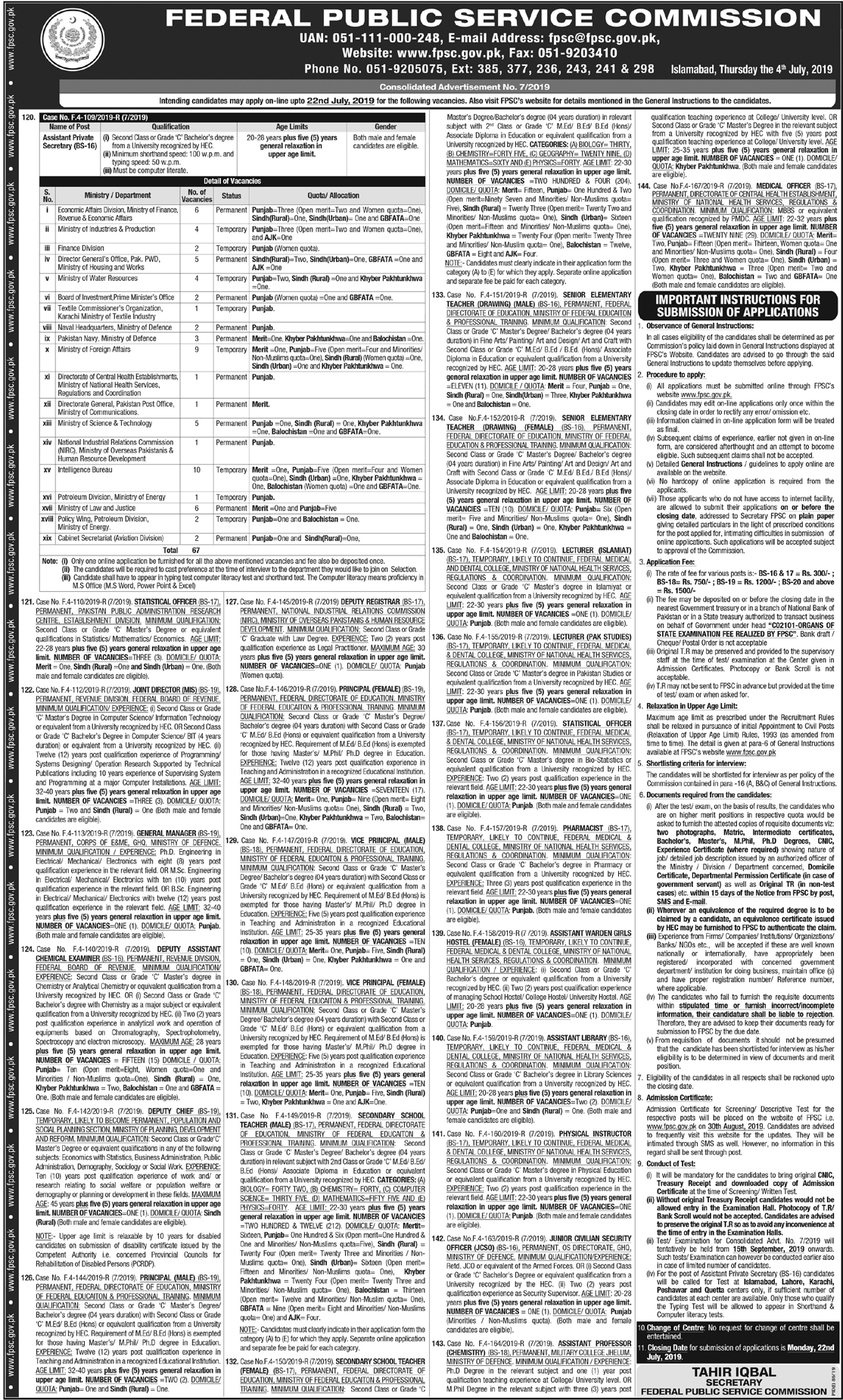 FPSC Jobs July 2019 Advertisement, Apply Online