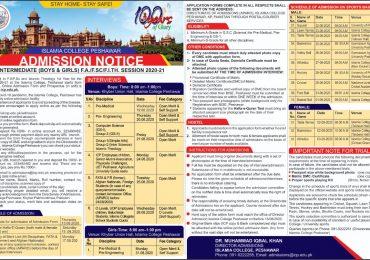 Islamia College Peshawar FSc Admission 2020 1st Year Last Date