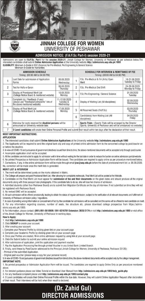 Jinnah College for Women Peshawar Merit List 2020
