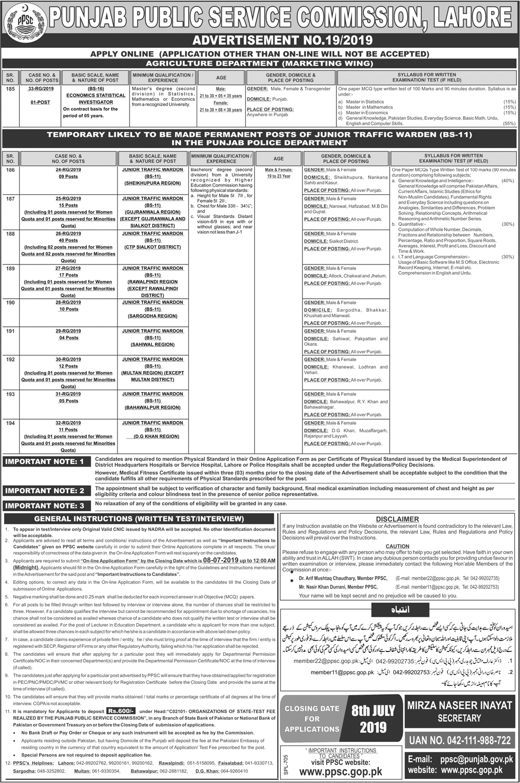 Punjab Police Junior Traffic Warden Jobs 2019 PPSC Apply Online