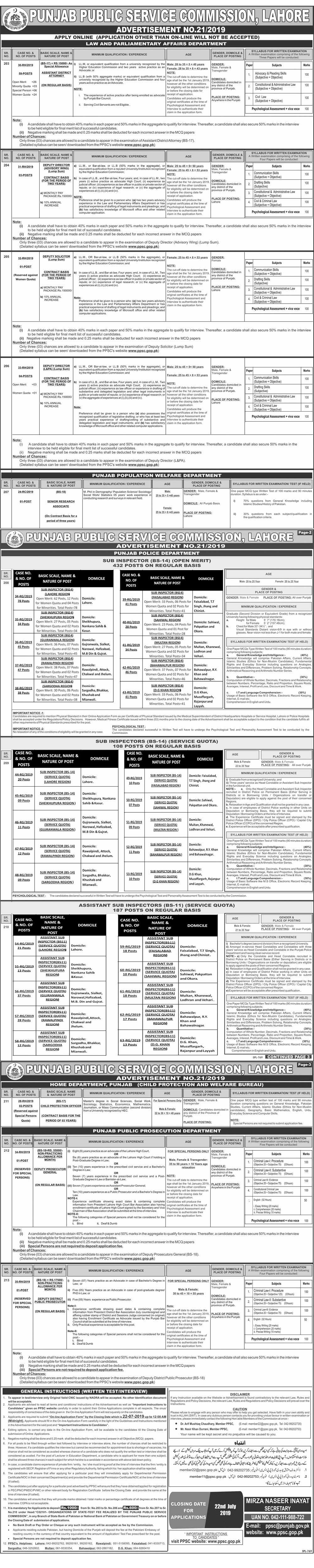 Punjab Public Service Commission PPSC Jobs July 2019 Advertisement