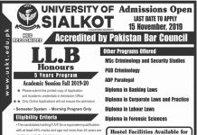 University of Sialkot Admission 2019-20 Form Apply Online