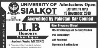 University of Sialkot Admission 2019-20 Form Apply Online