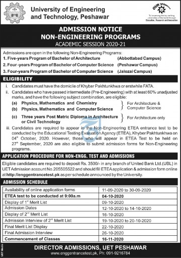 UET Peshawar Undergraduate Admission 2021