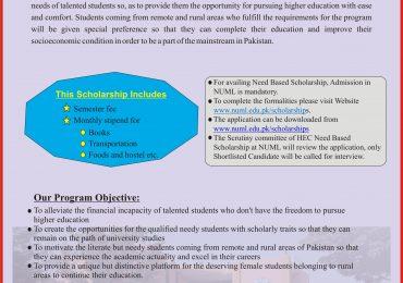 NUML Need Based Scholarships 2019 Criteria For Admission