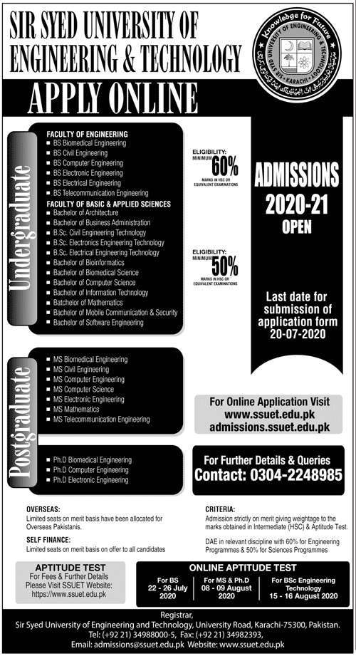 Sir Syed University Of Engineering and Technology SSUET Admission 2020