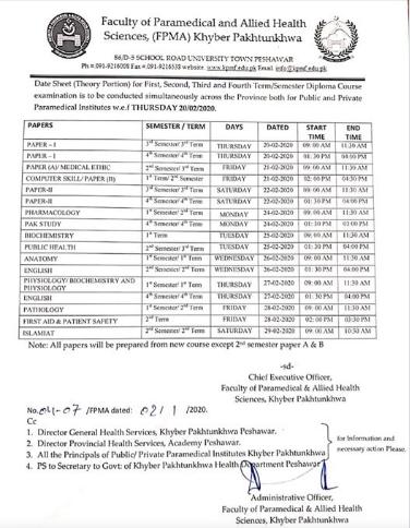 KPK Medical Faculty Exam Date Sheet 2020