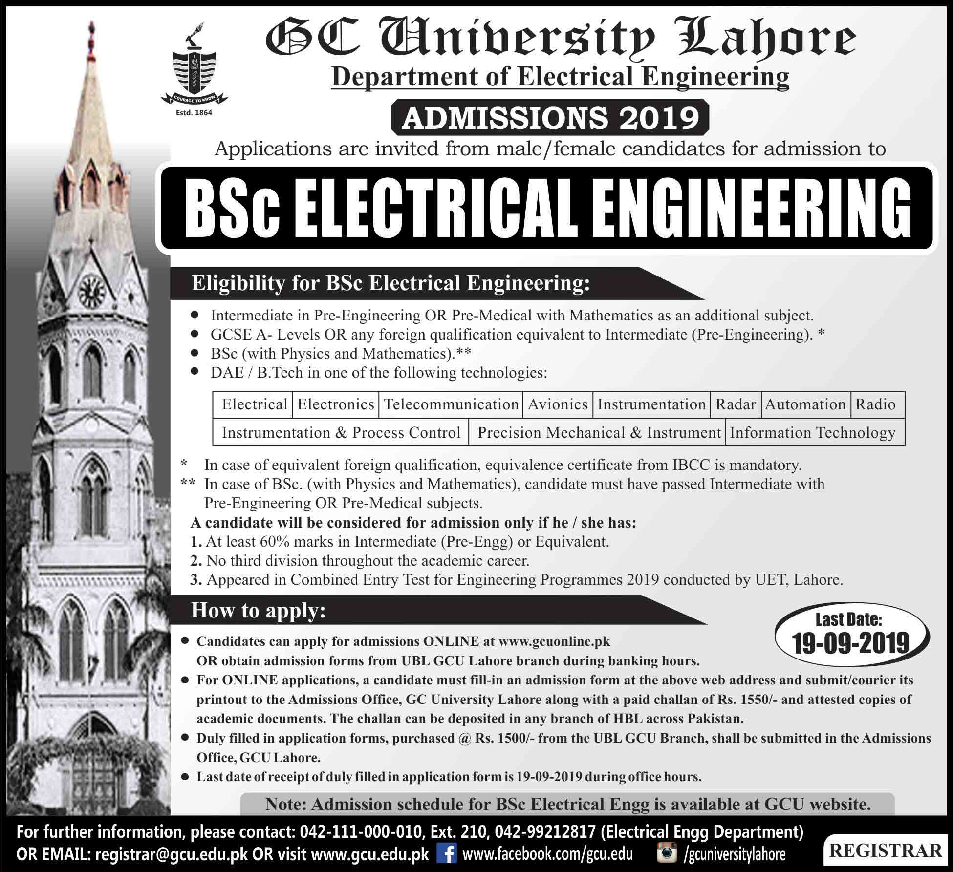 GCU Lahore BSC Electrical Engineering Admission 2019 Merit List
