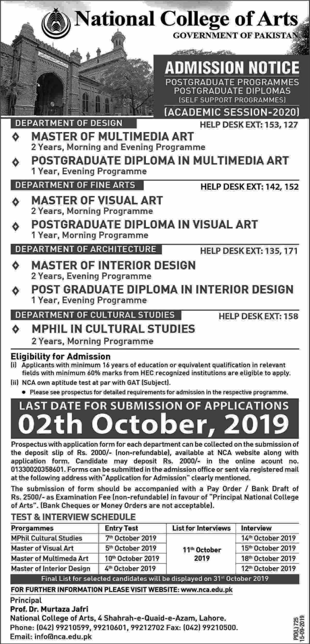 National College of Arts NCA Lahore Postgraduate Admissions 2019