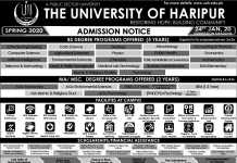 Haripur University Admission 2020 Form, Last Date