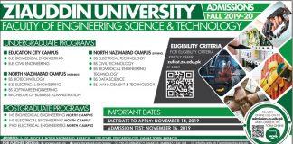 Ziauddin University Karachi Engineering Admission 2019-20 Form
