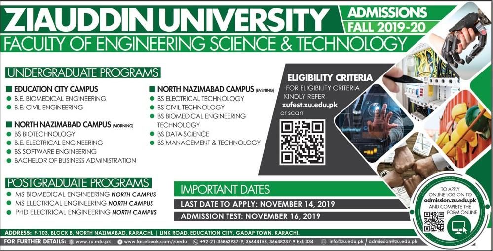 Ziauddin University Karachi Engineering Admission 2019 Form