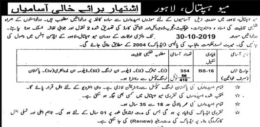Mayo Hospital Lahore Charge Nurse Jobs 2019 Application Form