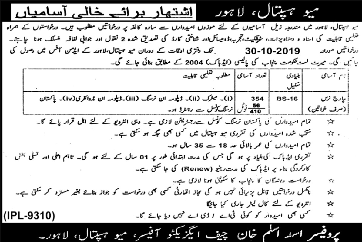 Mayo Hospital Lahore Charge Nurse Jobs 2019 Application Form