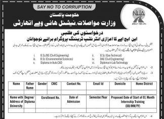 National Highway Authority Internship Program 2019 Application Form