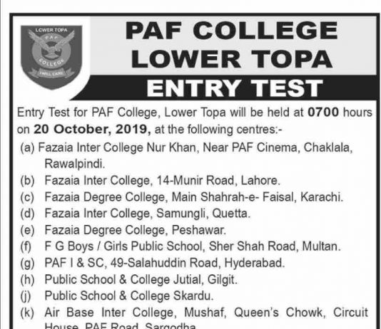 PAF College Lower Topa Entry Test Class VIII Results 2019